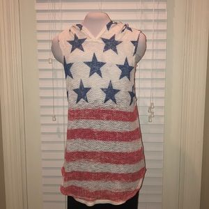 American Stars and Stripes hooded Tank Top